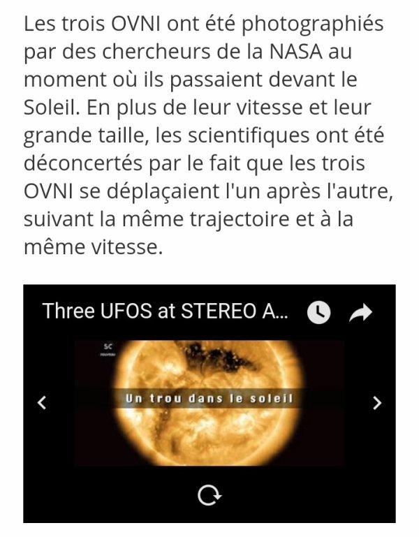 """3 Ovnis plus grands que la planète Terre photographiés devant le soleil :Regardez """"Three UFOS at STEREO AHEAD COR2"""" sur YouTube"""