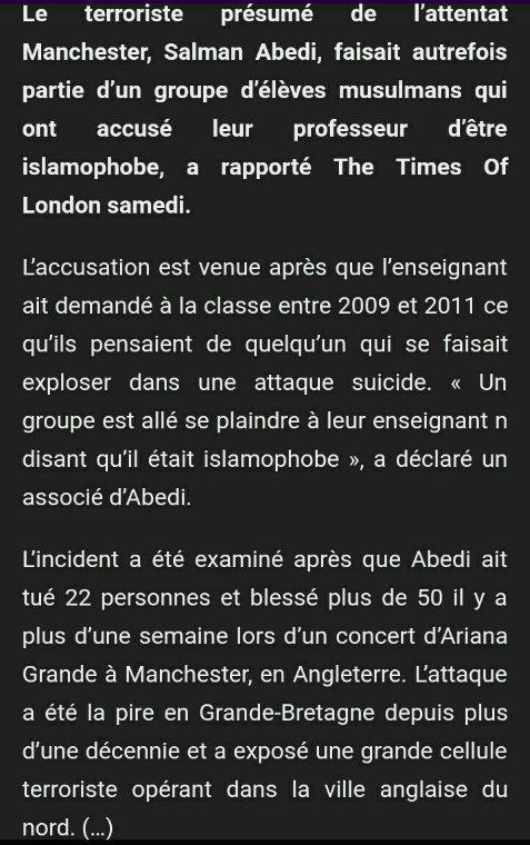 Le terroriste responsable de l'attentat de Manchester accuse son ancien prof d'islamophobie!