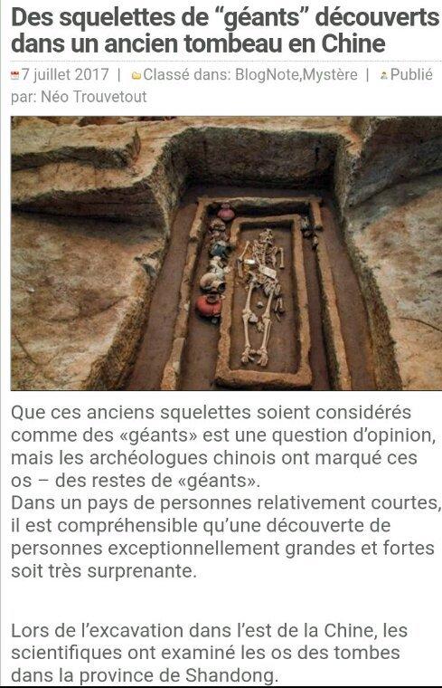 Des squelettes de Géants trouvés dans des tombeaux en Chine
