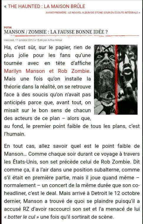 Manson / Zombie : la fausse bonne idée ? - RADIO METAL