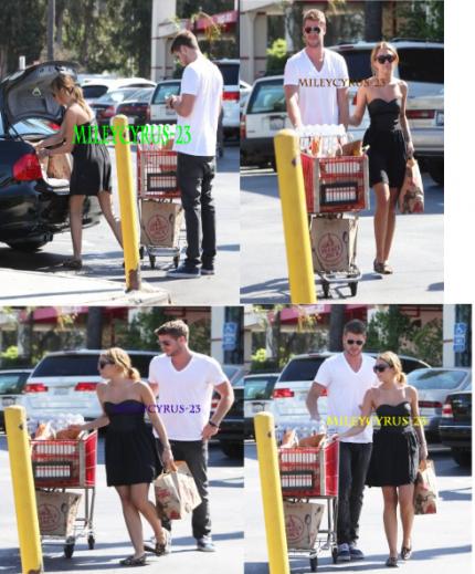 Miley, avec son petit ami Liam ont été vu faire des courses à Trader Joe's  à Los Angeles.