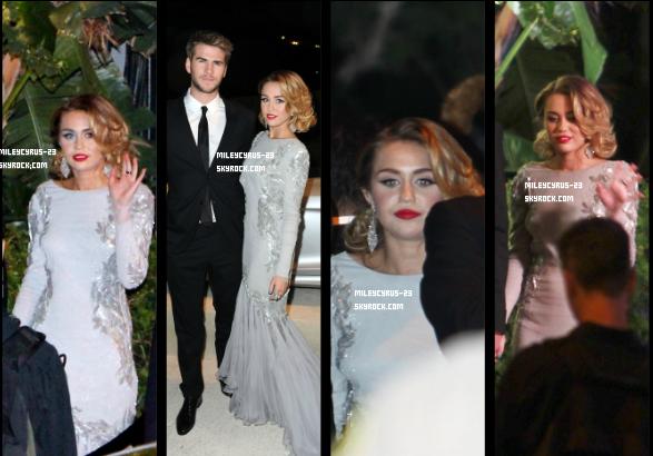 26/02/2012 : Miley Arrivant Et Quittant La Fête