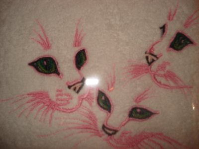 Différents articles avec les 3 têtes de chats