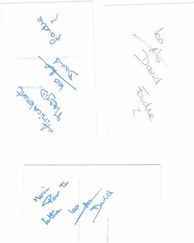 autographe de david tournay