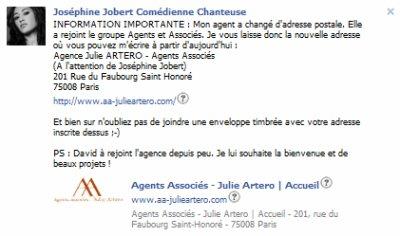 nouvelle adresse pour Joséphine jobert