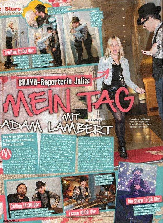 #135 Bravo Magazine Spends, de Julia pour ''Ma journée avec Adam Lambert ''