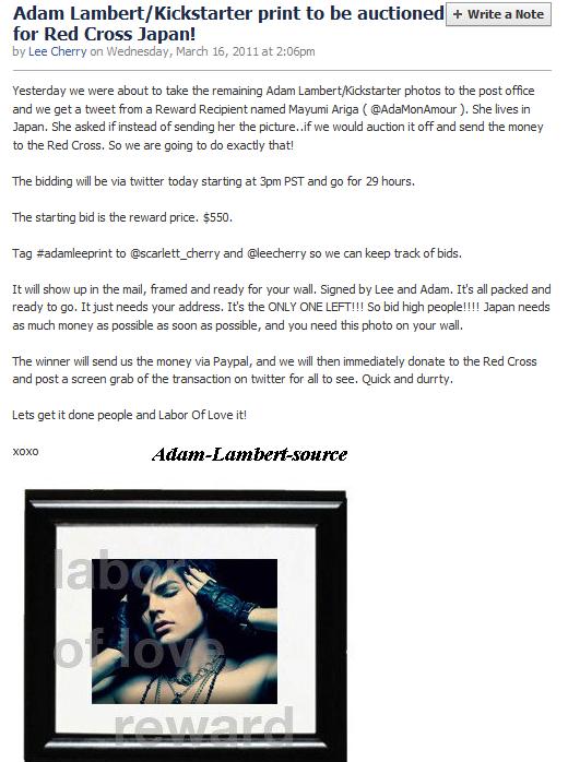 #257 Adam Lambert & Kickstarter feront une vente aux enchères pour la Croix Rouge du Japon  'NewNowNext Awards'