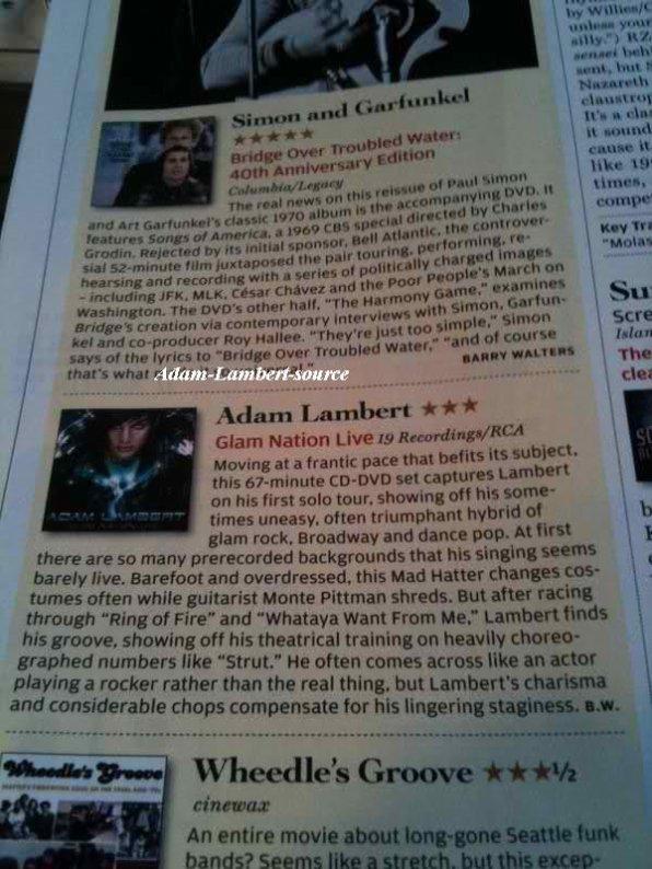 #263  Interview à Palmarès (22.03.11) GlamNation Live : 3 étoiles  Adam remercie ses fans