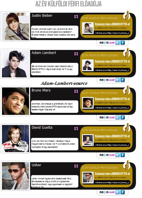 """#320 Adam est nominé pour """"Best International Male"""" sur Bravo Otto Music Award"""