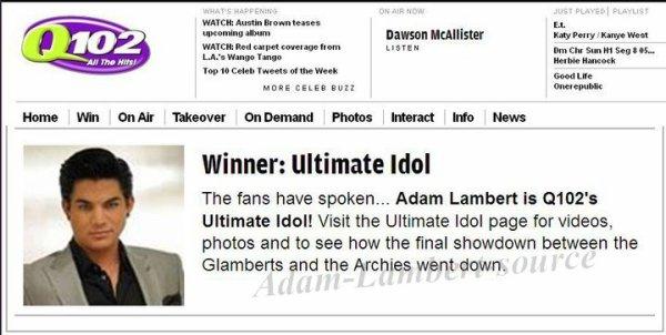 #354 Le vainqueur de Q102 Ultimate Idol est .. Adam Lambert !