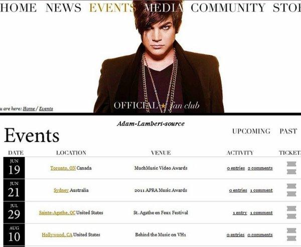 #444 Adam au MuchMusic Video Awards et au APRA Music Awards ?