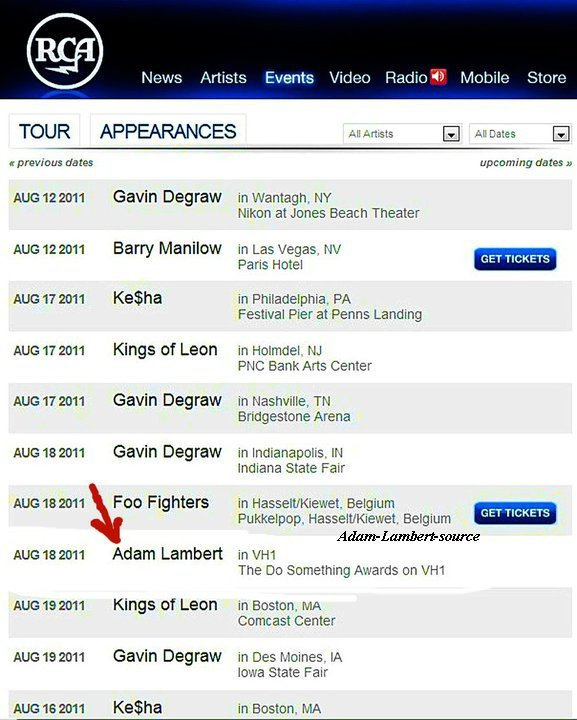#488 Via le site web de RCAMusicGroup.com - 18 août 2011, Adam Lambert à VH1! The Do Something Awards sur VH1