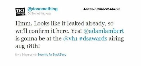 #490 @dosomething (dosomething.org) a confirmé que Adam sera bien présent le 18 août pour les VH1 Do Something Awards.