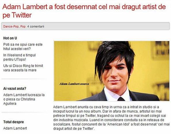 #530 D'après un article de Romanian UTV, Adam a été nommé l'artiste le plus gentil sur Twitter !