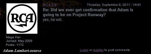 #671 RCA confirme que Adam sera au Project Runway. (08.09.11)