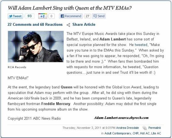 #794 ABC News Radio - Est-ce que Adam Lambert chante avec Queen au MTV EMAs ?
