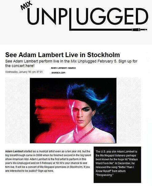 #962 Adam fera une prestation à Stockholm, en Suède le 5 février prochain pour les Mix Unplugged!