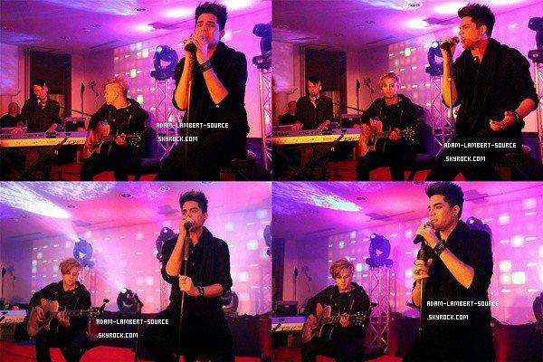 #999 Adam performant Fever, Better Than I Know Myself, Outlaws Of Love, Whataya Want From Me et en première mondiale, Trespassing au Q-Music snowcase (Autriche). (29.01.12)