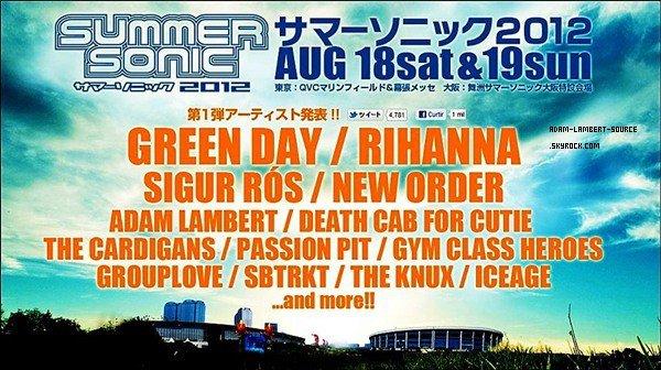 #1058 Adam sera en concert au Summer Sonic 2012 au Japon le 18 et 19 août prochain!
