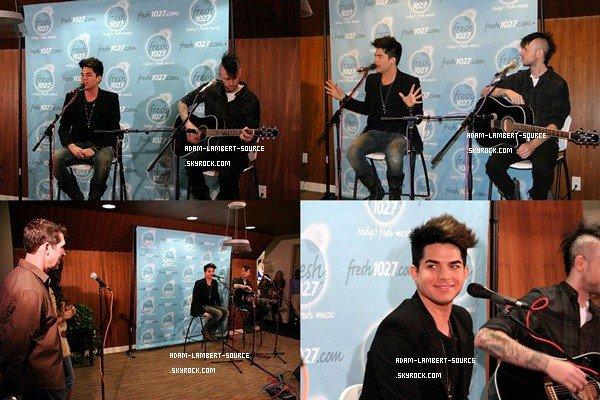 #1082 Adam performant Whataya Want From Me et Better Than I Know Myself dans les studios de Fresh 102.7. (15.02.12)