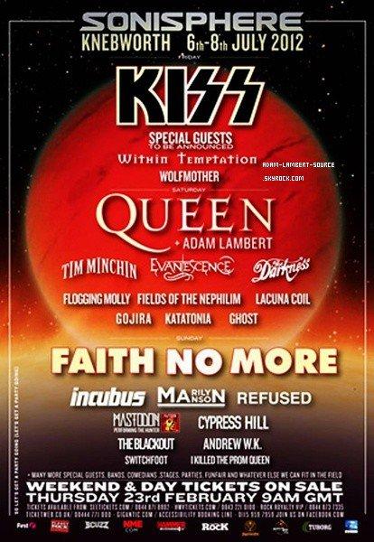 #1101 C'est officiel, Adam se joindra à Queen au festival Sonisphere, au Royaume-Uni le 7 juillet 2012!