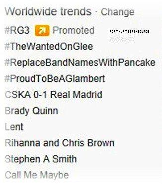 #1104 #ProudToBeAGlambert en tendance mondial sur Twitter! (21.02.12)