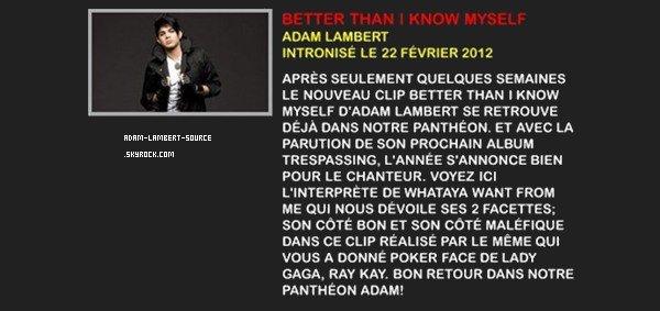 #1112 Better Than I Know Myself intronisé dans le panthéon de Palmarès! (22.02.12) + Votez pour For Your Entertainment dans le top 2009 de Palmarès!