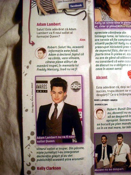 #1119 Article d'Adam et Queen dans le magazine Bravo (Roumanie).