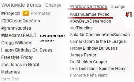 #1138 #AdamLambertVideo et #ItsAdamFault en tendance mondiale sur Twitter! (2.03.12)