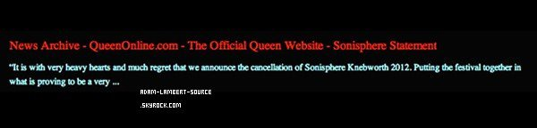 #1197 Le Sonisphere Festival annulé?