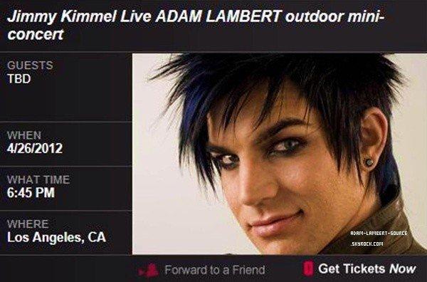 #1231 Adam fera un mini concert au Jimmy Kimmel le 26 avril prochain!