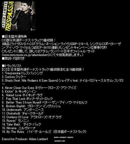 #1251 Une nouvelle chanson bonus, By The Rules, se trouvera sur l'édition limité et standard japonaise de Trespassing.