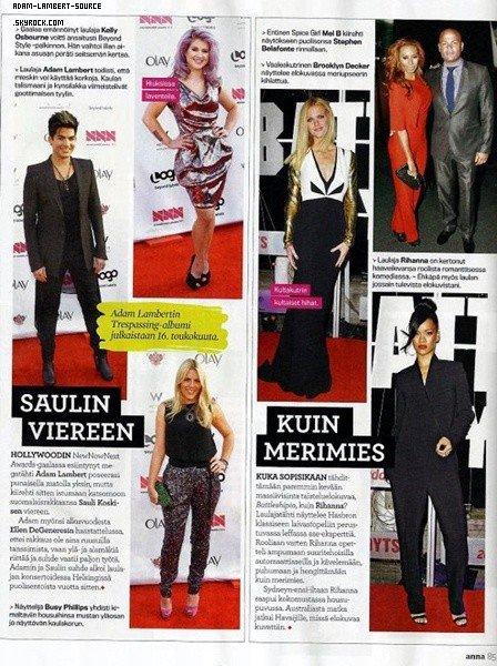 #1256 Magazine en Finlande sur les NewNowNext Awards. (19.04.12)