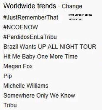 #1258 #NCOENOW en tendance mondiale Twitter suite à un tweet d'Adam.