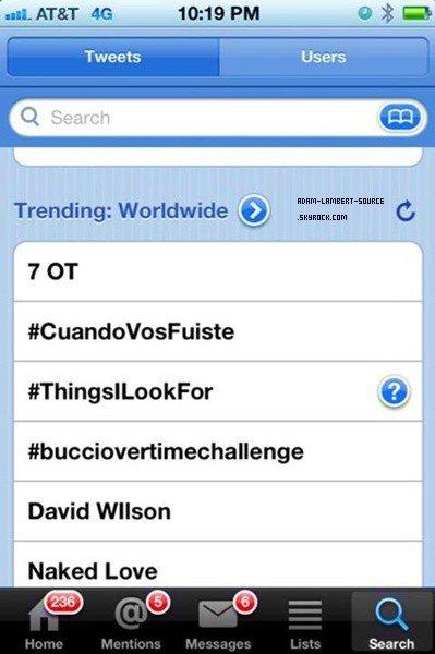 #1271 Naked Love et #AdamOnKimmel en tendance mondiale sur Twitter. (26.04.12)