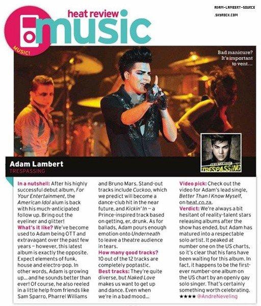 #1361 Review de Trespassing dans le magazine Heath (Afrique du Sud). (07.06.12)
