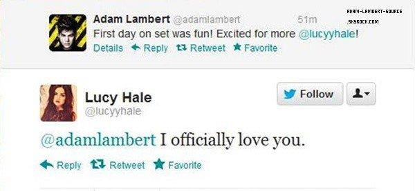 #1444 Adam et Lucy Hale ont échangé des tweets à propos du tournage de l'épisode de Pretty Little Liars.
