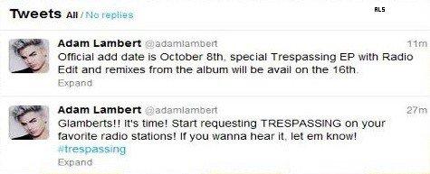 #1521 D'après ses tweets, la sortie du single Trespassing sera le 8 octobre et un album spécial remixes le 16 octobre. C'est le moment des demandes radios!