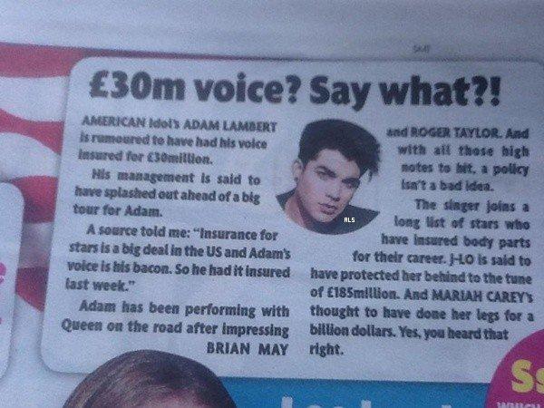 #1537 La voix d'Adam assurée pour 30 million d'euro?