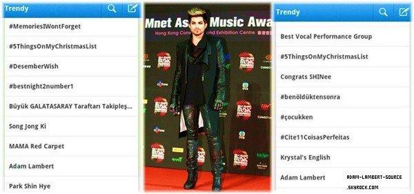 #1577 Adam était en performance au Mnet Asian Music Awards 2012, à Hong Kong où il a chanté Whataya Want From Me et Trespassing.
