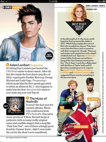 #1585 Trespassing et classé #8 au Top Music of 2012, People Magazine (iPad edition)
