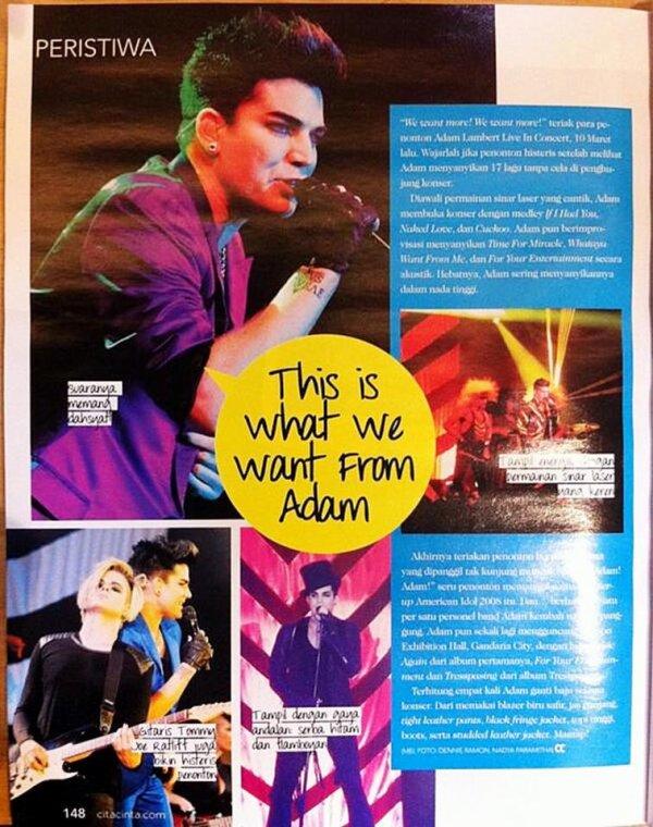 #1686 Review du concert à Jakarta - Cita Cinta Magazine n° 07. (27.03.13)