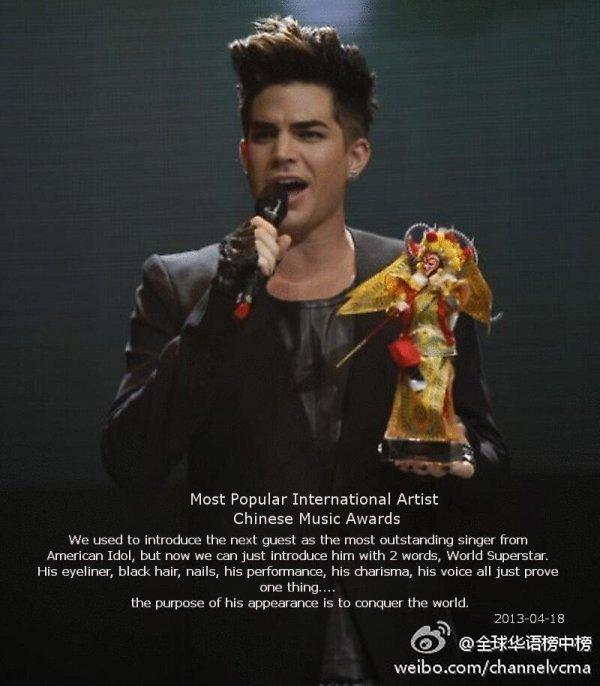 #1694 Adam était au 2013 Chinese Music Awards, en Chine. (18.04.13) Il a reçu le prix de l'artiste international le plus populaire. ♥