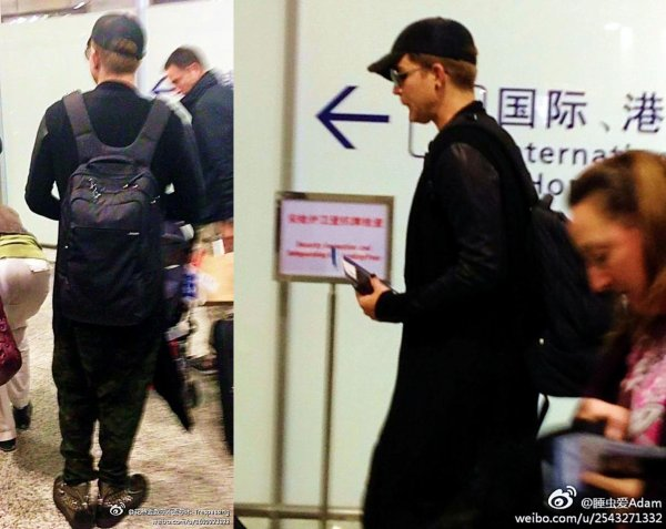 #1696 Adam à l'aéroport de Shanghai, en route pour Los Angeles! (23.04.13)