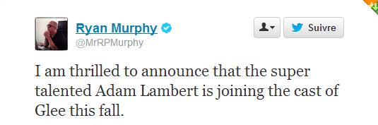 #1733 Adam rejoint le casting de la série Glee!