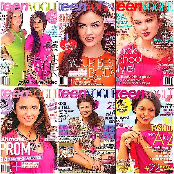 .  Voici selon  plus belles covers du magazine  Teen Vogue. La quelle de ces douzes covers est ta préférée? .