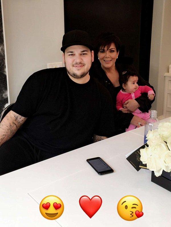 Rob Kardashian & Sa Mére Kris Jenner avec Sa Fille Dream
