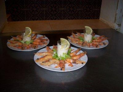 assiettes de crevettes
