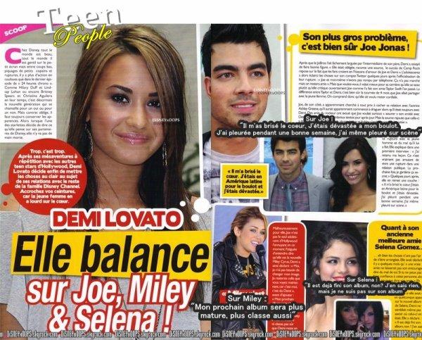 Scan du magazine TEEN PEOPLE ou Demi parle de Selena, Joe et Miley.
