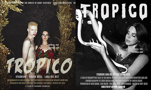 """Annonce officielle de Tropico par Lana Del Rey, découvrez des infos' en exclu'...   Lana Del Rey a rompu le silence sur Twitter pour nous livrer deux affiches de Tropico. Ce sera un court-métrage de 30 minutes. Comme elle l'avait fait pour """"Ride"""", le clip sortira en salles. Les dates nous seront communiquées bientôt. Tropico représente la réunion de 3 de ses titres: Body Electric, Gods & Monsters et Bel Air. Il a été réalisé par Anthony Mandler (qui avait également dirigé """"Ride"""" et """"National Anthem"""")."""
